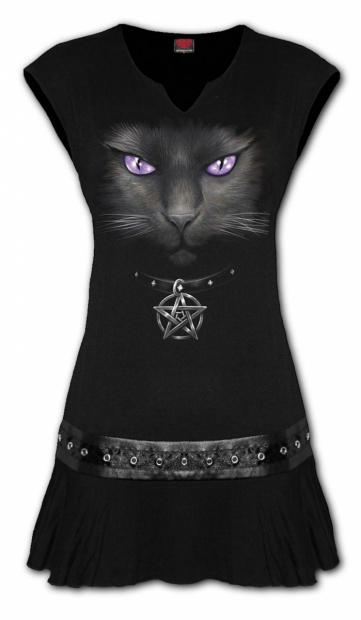 Black Cat - Mini Šaty Spiral