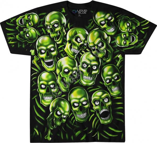 Skull Pile Green - Glow - Liquid Blue