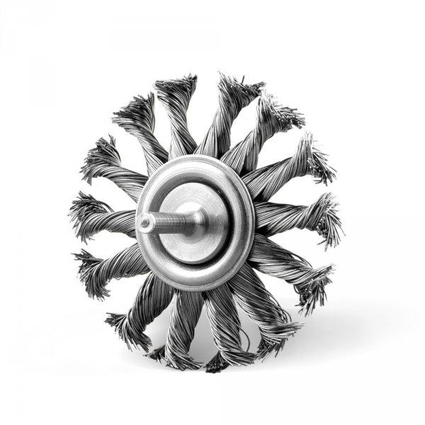 Szczotka tarczowa fi 80 z trzpieniem fi 6, splatana drut stalowy (003-FTSI)
