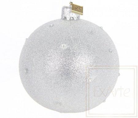 Kugel 8cm, Sternenstaub auf Silber