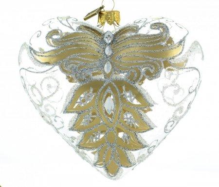 Serce 12cm - Złote skrzydła
