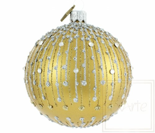 Christbaumkugel 8cm – Goldener Diamantregen