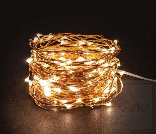 Microlight LED - 12 m - 120 warmweiße Lampen -  Kupferdraht - 4,5 V