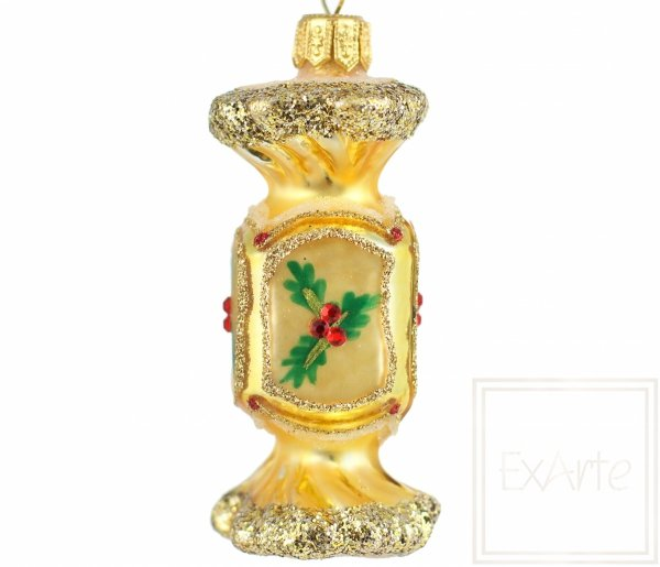 bombka szklana w kształcie cukierka / Süßigkeit 7,5cm - Überraschung in Gold