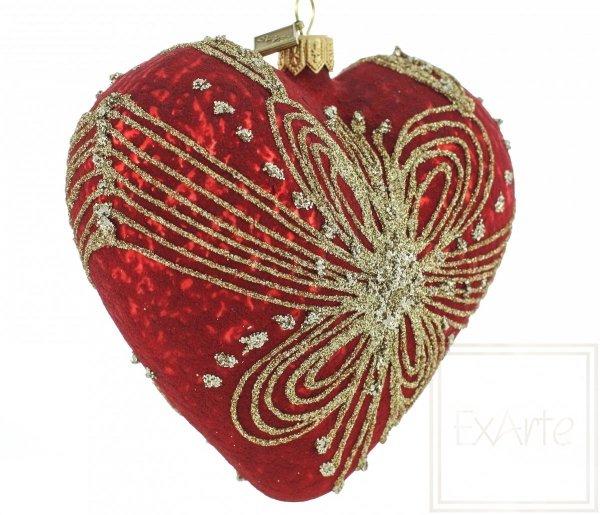 bombki czerwone serca na choinkę / Herz 12cm - gewebt mit Gold