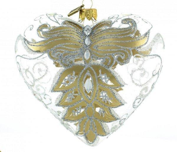 Weihnachtskugeln Herz 12 cm, bombka złote serce, Heart christmas baubles 12 cm