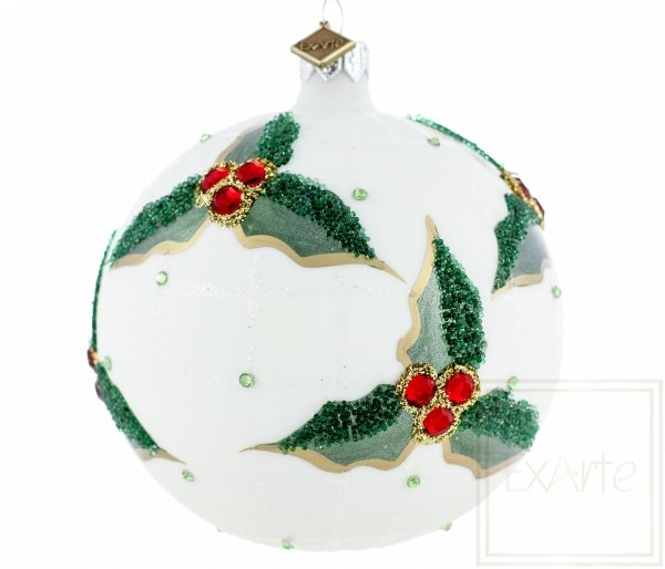Christbaumkugel 10cm – Stechpalme im Schnee