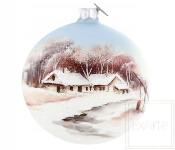 zimowy krajobraz ręcznie malowana bombka