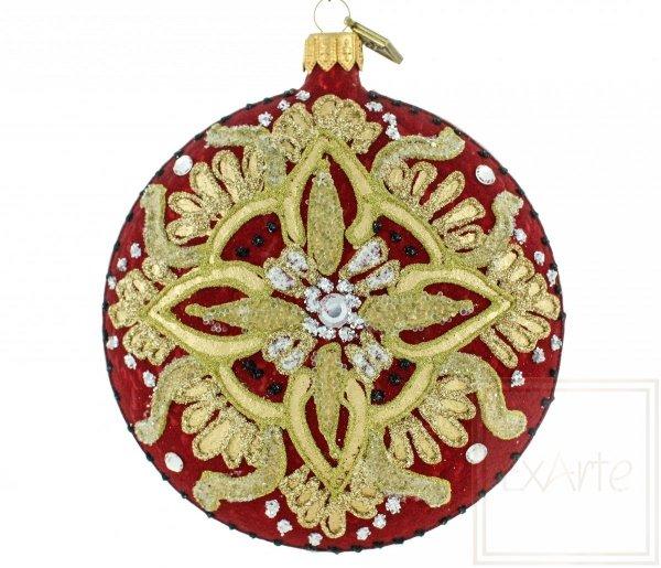 czerwono-złota bombka choinkowa / 10cm Medaillon - Sarabande