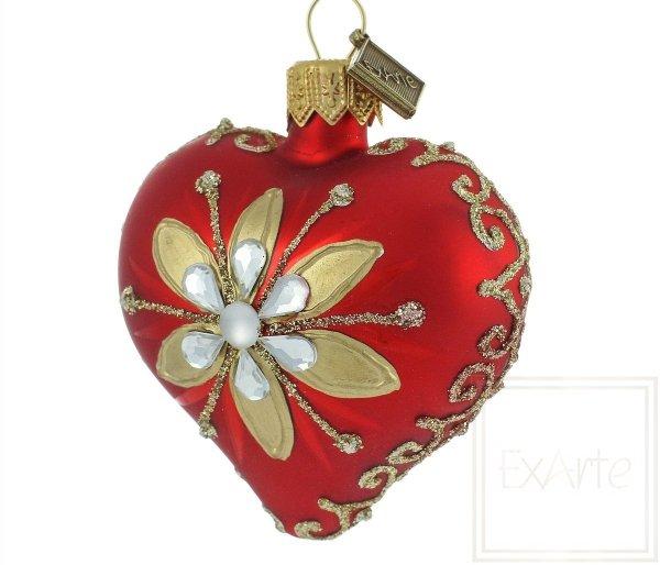 bombka motyw kwiatowy / Herz 5cm - Gold / Heart 5cm - Gold