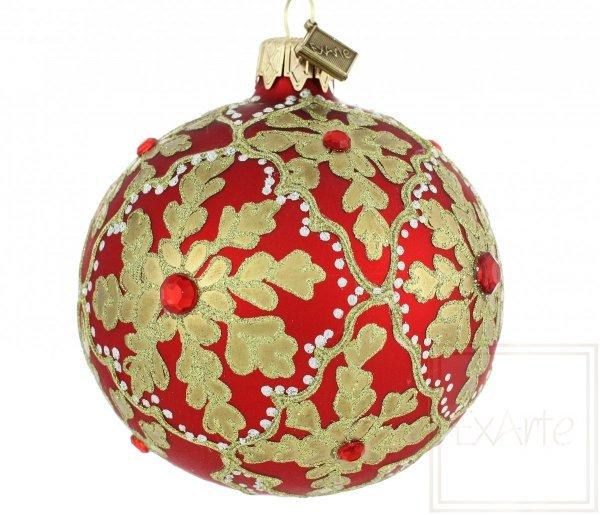 rote handverzierte Weihnachtskugel, czerwona ręcznie robiona bombka, red handmade baubles