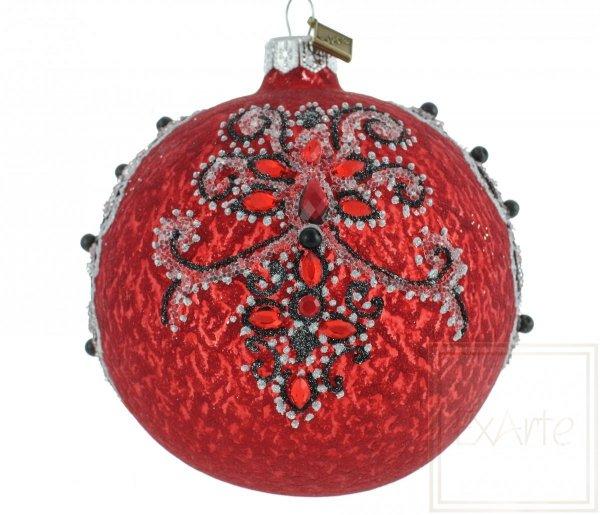 czerwona bombka z czarnym wzorem / Ball von 10cm - Le Grand Bal