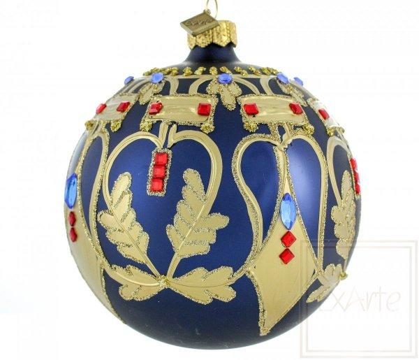 niebiesko-złote bombki choinkowe / Ball von 10cm - Schönheit der Symmetrie