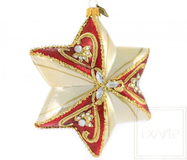 bombka ręcznie robiona w kształcie gwiazdy