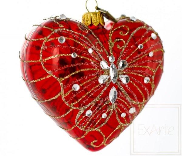 serce z motylem bombka świąteczna