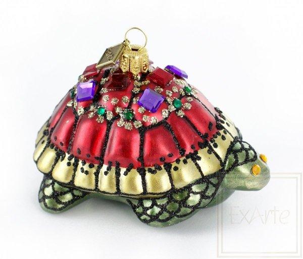zielono-czerwona bombka figurka / Königliche Schildkröte - 10cm