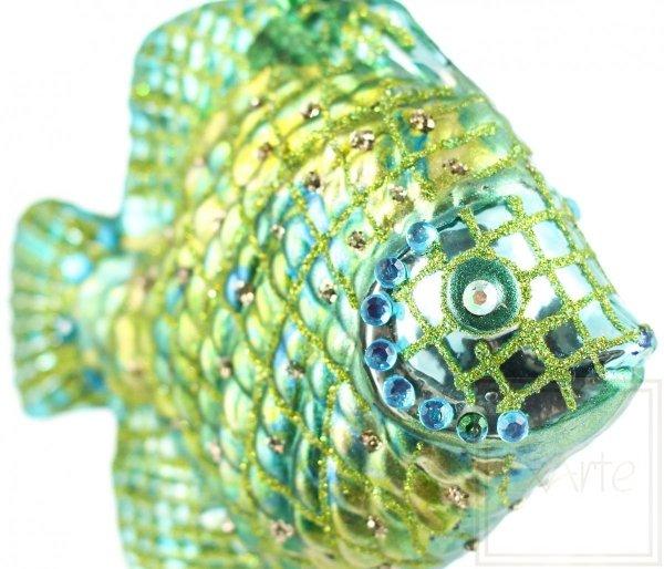 Szklana bombka rybka, Fisch 9cm - Smaragd