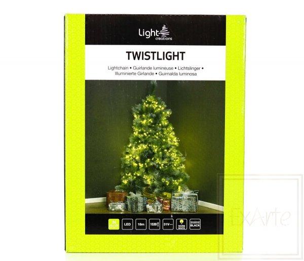 Lampki choinkowe Twistlight o bardzo dużym zagęszczeniu żarówek - długość 18m, światło białe ciepłe