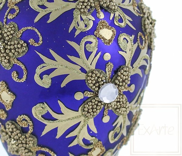 bombka szafirowa ze złotym dekorem