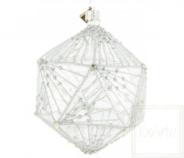 Bombka szklana transparentna dekorowana, Weinachtspolycycane 11cm - Silberstrahl