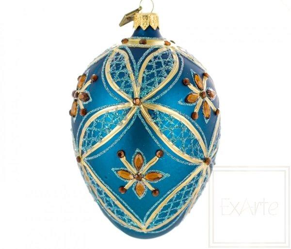 turkusowe jajko bombka bożonarodzeniowa
