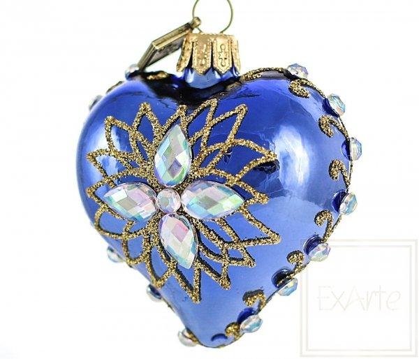 niebieskie serce bombka na choinkę
