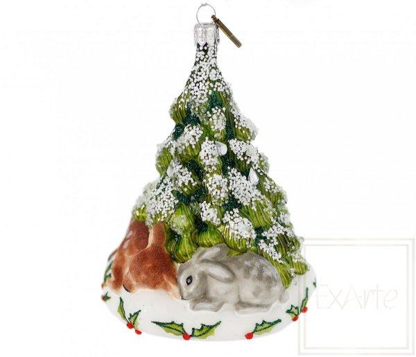 bombka świąteczna z sarną i zającem