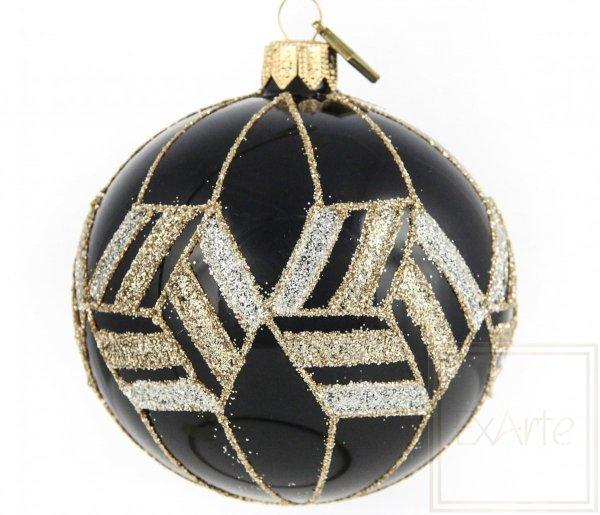 Szklana bombka kula czarno-złota glamour, Ball von 8cm - Gold von Ägypten