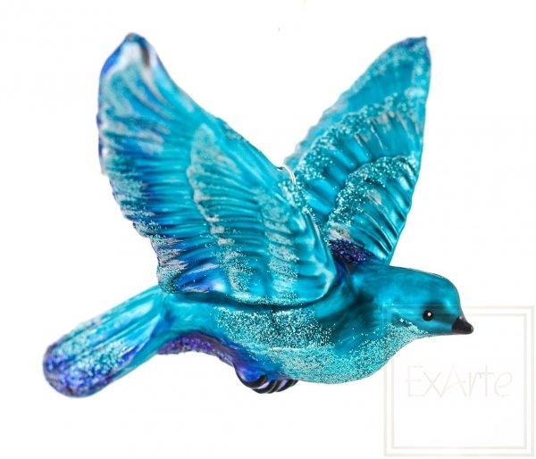 turkusowy ptak szklana bombka