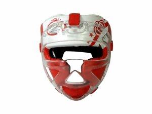 Kask bokserski MASTERS z maską czerwony KSS-M