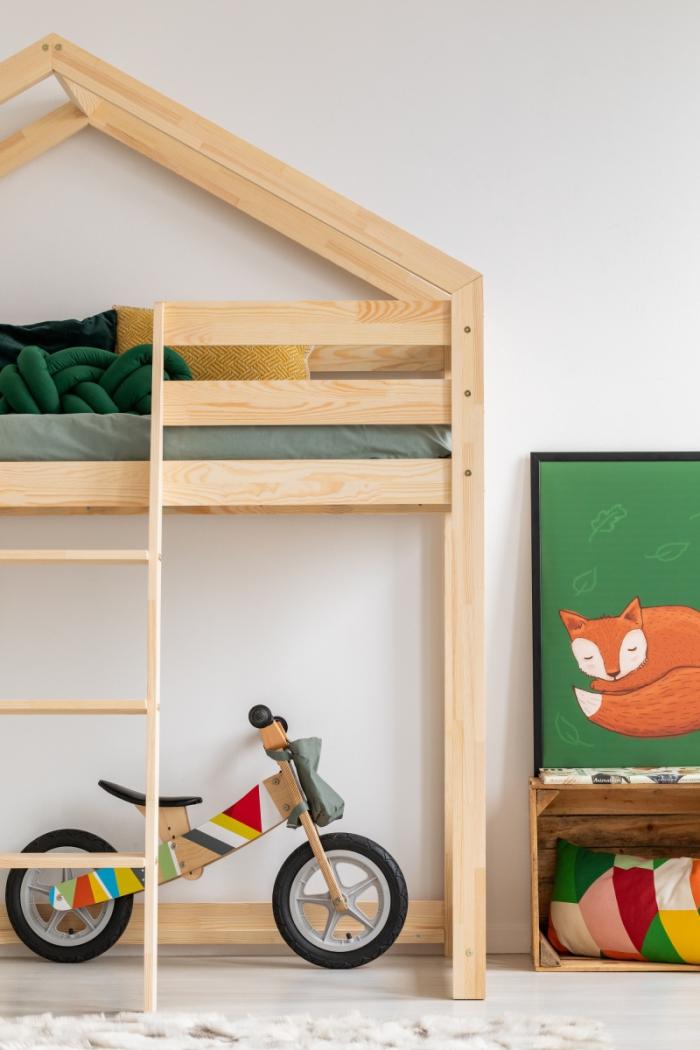 DMPA 80x190cm Łóżko piętrowe dziecięce domek Mila ADEKO