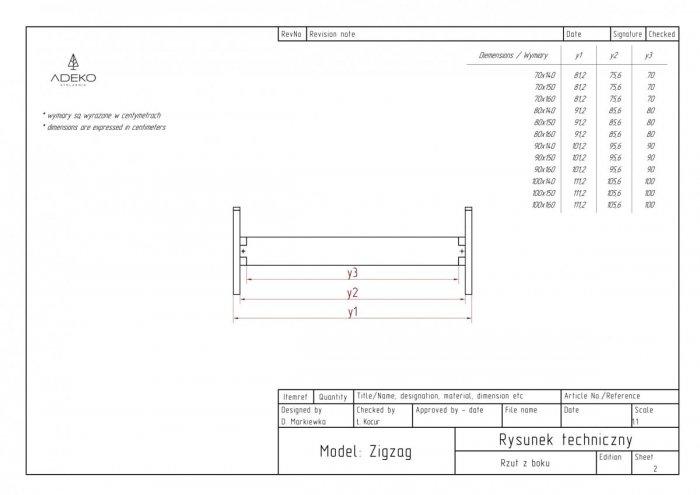Zig 90x150cm Łóżko młodzieżowe ADEKO
