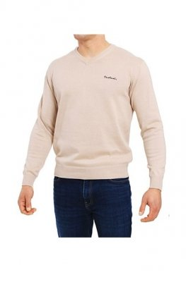 Pierre Cardin V-Napis beżowy Sweter