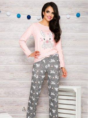 Taro 1193 Oda AW/17 K1 Różowo-szara piżama damska