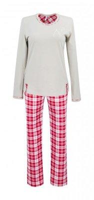 Betina Virginia 148 Mocca z czerwonym dł. rękaw piżama damska