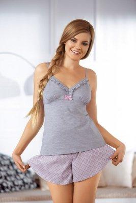 Babella Sorbet 3057-2 Szaro-różowa piżama damska