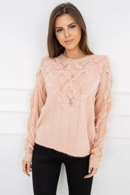 Vittoria Ventini Nicola Lace Powder Pink G2559 sweter damski