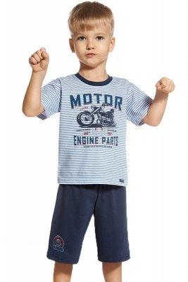 Cornette 801/47 Engine paski niebieski piżama chłopięca