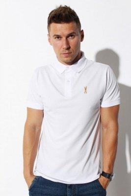 Orlovski Polo Logo biała koszulka męska