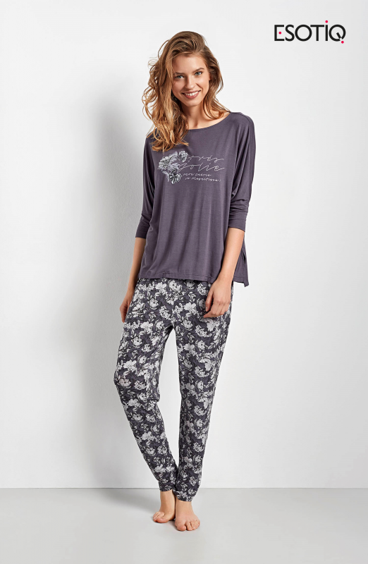 Esotiq Chana 34537-90X, 34539-90X grafitowa piżama damska