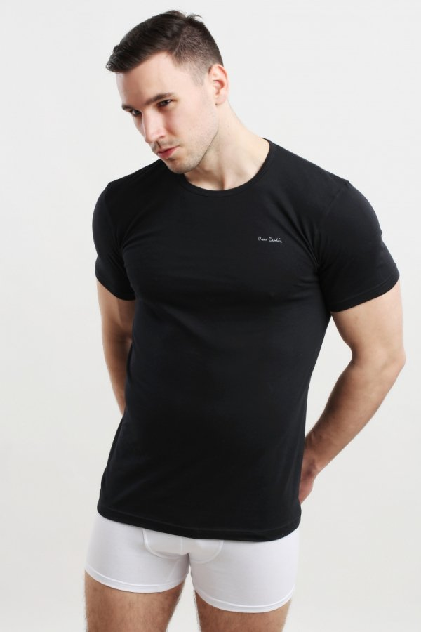 Pierre Cardin Rneck czarna Koszulka męska