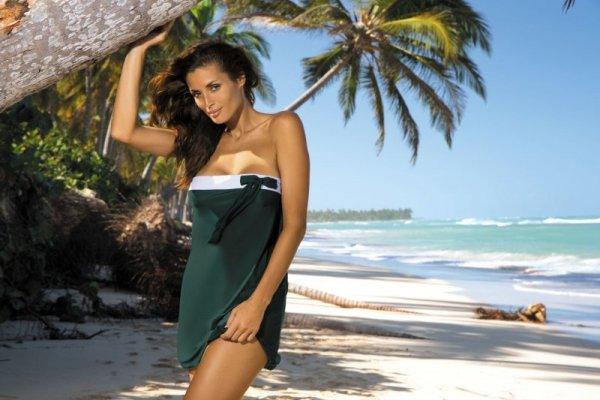 Tunika plażowa Marko Mia Woody M-241 Butelkowa zieleń (225)