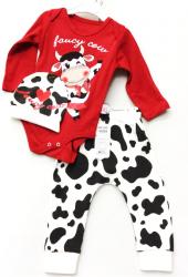 Komplet Dziecięcy 3 częściowy Krówka Czerwień Body spodnie Czapeczka