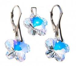 Biżuteria dla Niej Komplet Kolczyki i zawieszka Kwiatki 14 mm Crystal AB Swarovski Elements srebro próba 925