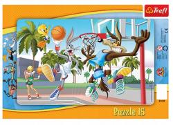Puzzle ramkowe Królik Bugs Mecz Koszykówki 15 el. Trefl 31109