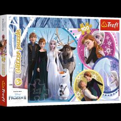Puzzle Brokatowe W Blasku Miłości 100 el. Frozen Kraina Lodu Trefl 14817