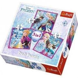 Puzzle Frozen 3w1 Zimowa Magia Trefl 34832