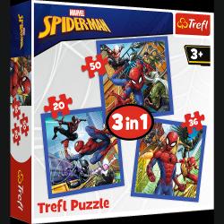 Puzzle 3w1 Spiderman Pajęcza Siła 20/36/50 el. Trefl 34841