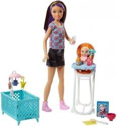 Lalka Skipper Opiekunka z łóżeczkiem i krzesełkiem do karmienia Barbie Mattel FHY98 FHY97