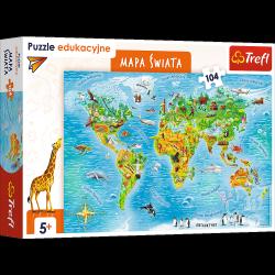 Puzzle Edukacyjne Mapa Świata dla Dzieci 104 el. Trefl 15557